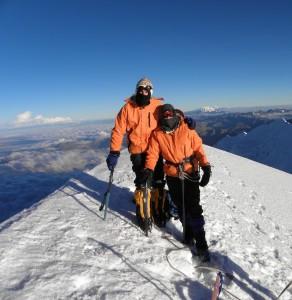 Summiting Illimani in Bolivia. Copyright ThinkingNomads.com