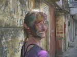 Jaime after the Holi Festival in Kolkata India. Copyright SeatofourPants.com