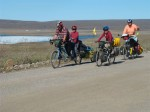 Family on Bikes Getting Started in Alaska on the Dalton Highway. Copyright FamilyOnBikes.org