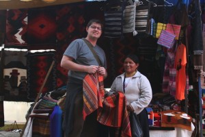 Jeff at the Otavalo Market. Copyright CareerBreakSecrets.com