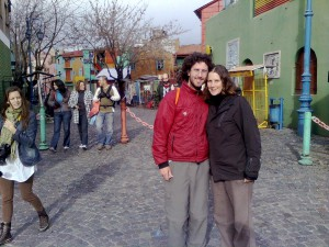 Craig and Linda in the La Boca neighborhood of Buenos Aires, Argentina. Copyright IndieTravelPodcast.com