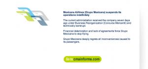 Screen shot of Mexicana.com on Friday August 27. Copyright CareerBreakSecrets.com