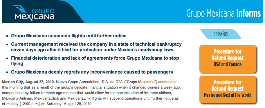 mexicana refund process and information, mexicana bankruptcy and suspension of flights
