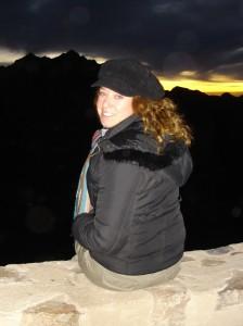 Lisa catching the sunrise on Mount Sinai. Copyright LLWorldTour.com