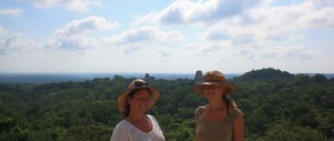 Dani & Jess on a Temple in Tikal, Guatemala. Copyright GlobetrotterGirls.com