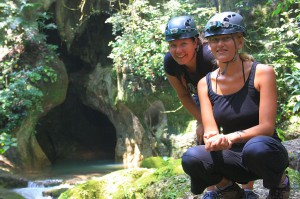 GlobetrotterGirls, Jess & Dani, before entering the Actun Tunichil Muknal cave in Belize. Copyright GlobetrotterGirls.com