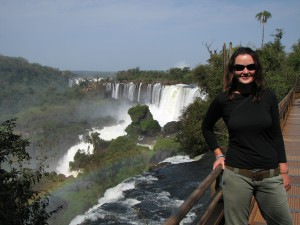 Emma at Iguazu Falls on the Brazilian-Argentine border. Copyright Emma and Fabien Tronche
