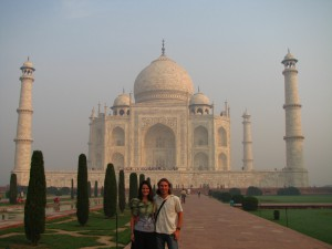 At the Taj Majal in India. Copyright Emma and Fabien Tronche