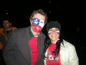 Paul and Ale celebrating Chile. Copyright Paul Davy.