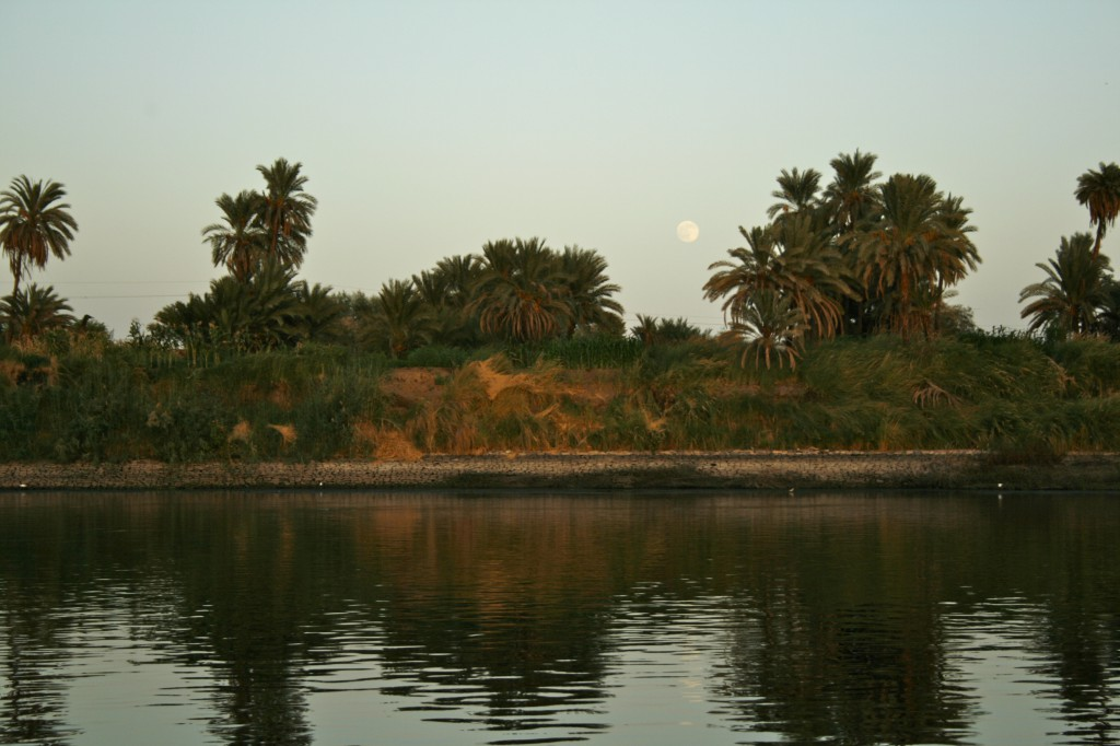 egypt, nile, full moon