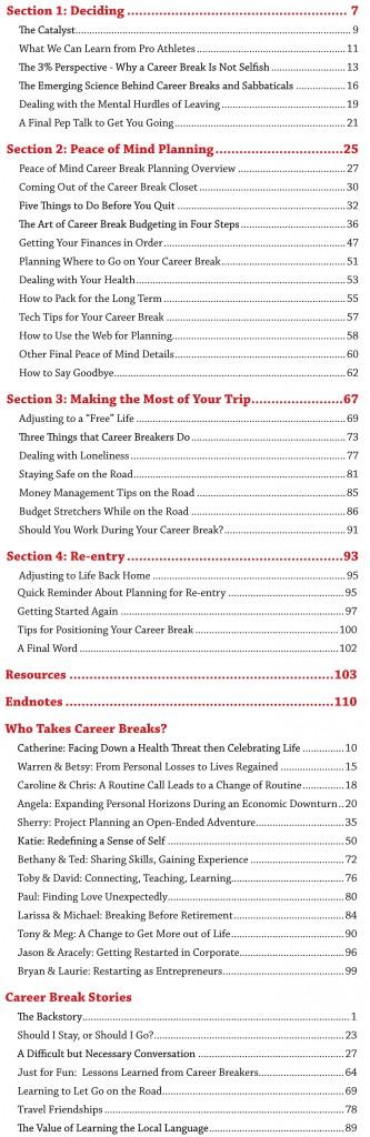 Career Break Traveler's Handbook Table of Contents